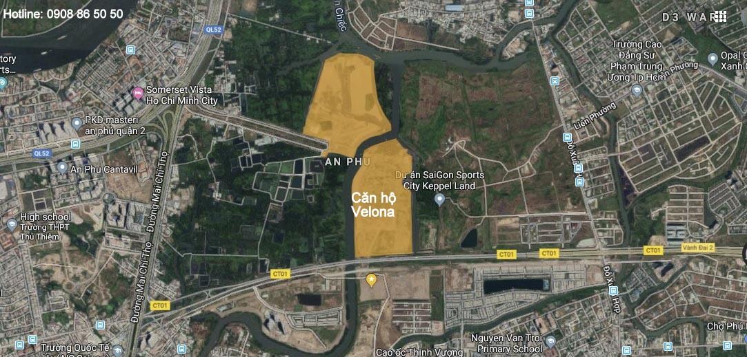 Vi trí dự án căn hộ Velona quận 2 - Saigon Sports City Keppel Land.