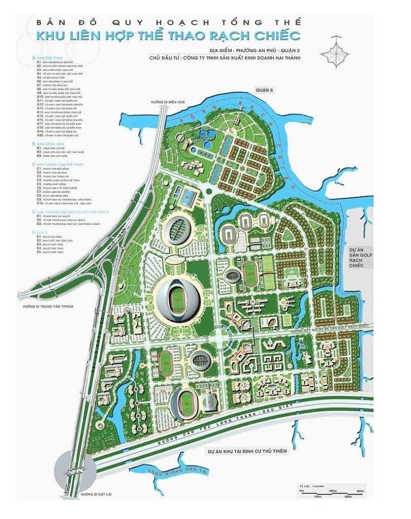 Bản đồ quy hoạch khu liên hợp thể thao Rạch Chiếc - dự án căn hộ Velona quận 2
